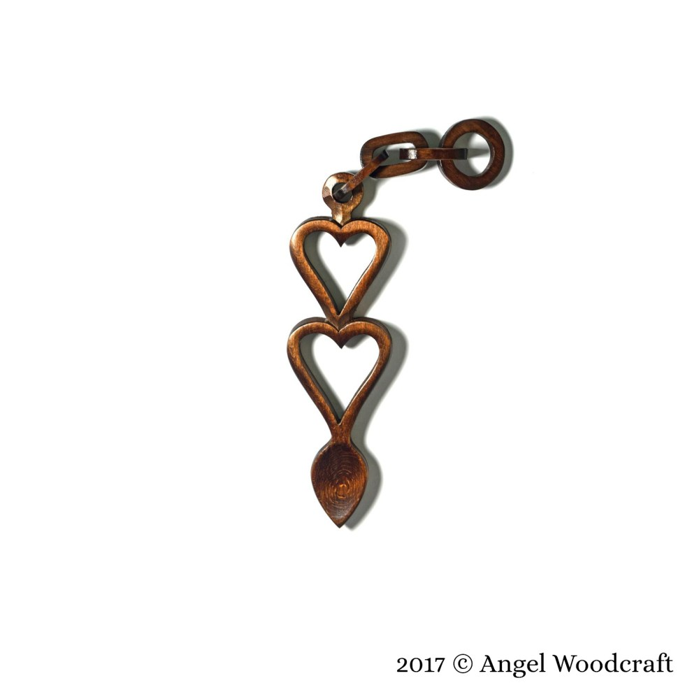Two Hearts Linked Together Welsh Love Spoon - 14 1