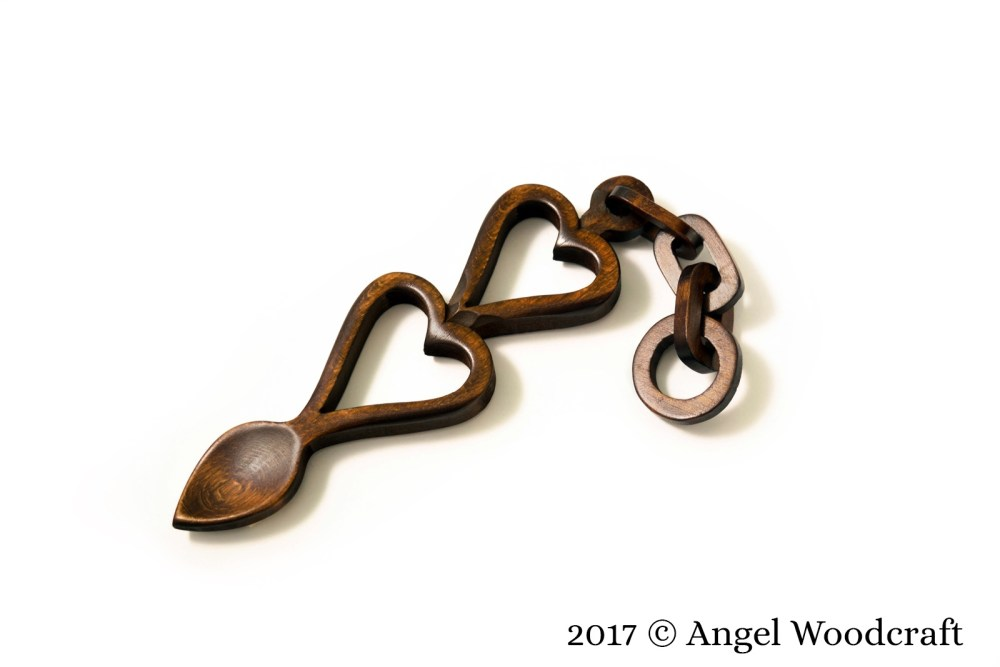 Two Hearts Linked Together Welsh Love Spoon