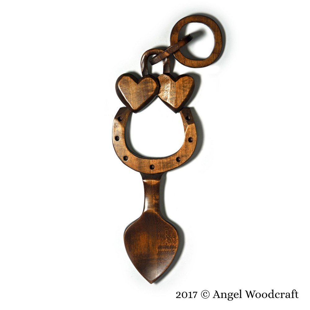 Wooden Horseshoe Welsh Love Spoon - 50 1