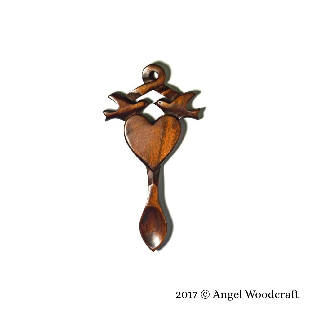 57 - Lovebirds Entwined Welsh Love Spoon 2
