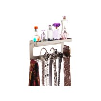 Belt Holder Organizer with Shelf - Arinn Satin Nickel Silver