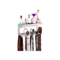 Belt Holder Organizer with Shelf - Arinn White
