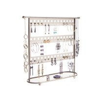 Earring Holder Organizer - Laela Satin Nickel Silver