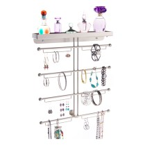 Wall Mount Jewelry Organizer - Carol Satin Nickel Silver