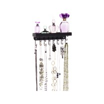 Slim Wall Mount Necklace Holder - Fiona Black