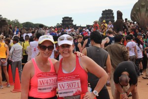 My sister and I after the Angkor Wat half marathon - an amazing experience running through there temple complex at dawn being cheered on my the locals and having kids grab your hand and run with you, November 2013