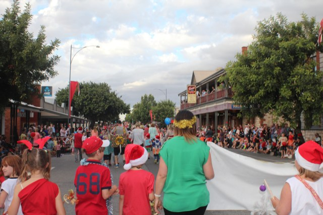 Walking down the main street of Tanunda for the Christmas Parade