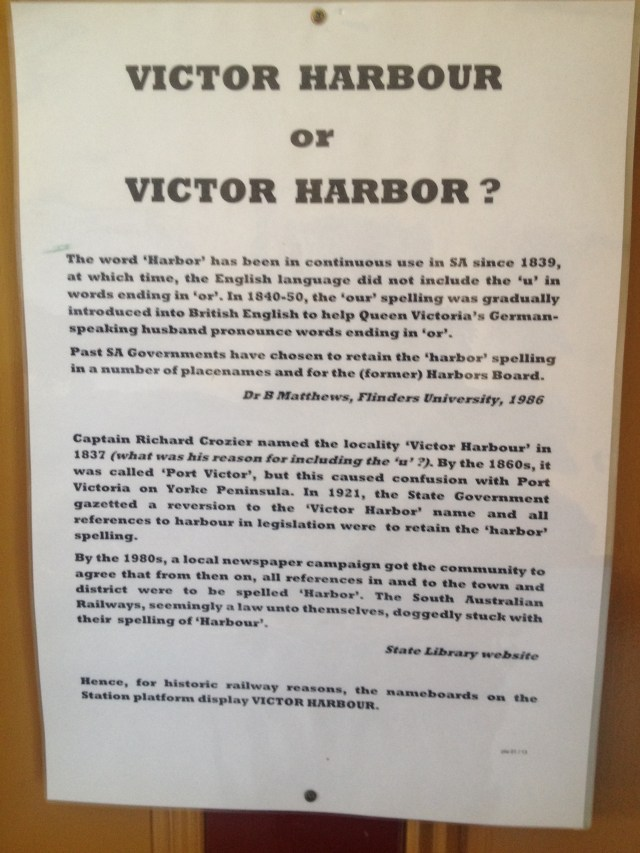 An explanation of the spelling of Victor Harbor
