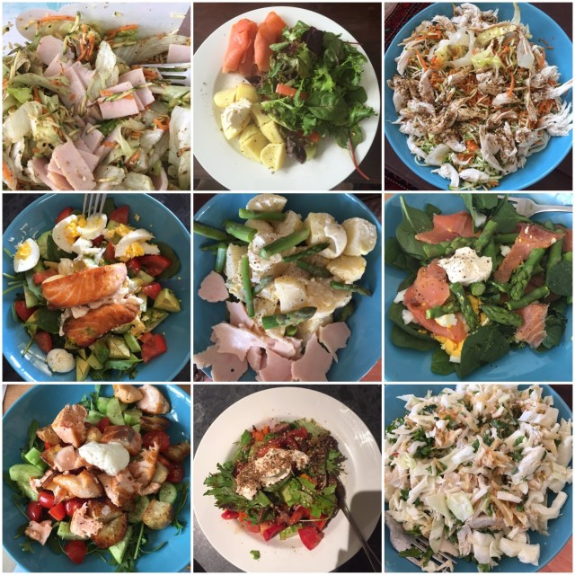 Whole30 lunches - lots of salads, chicken, salmon and grated vegetables with mayo or vinegarette a