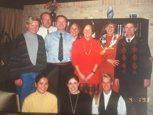 Farewell party with some of my host families, January 1993