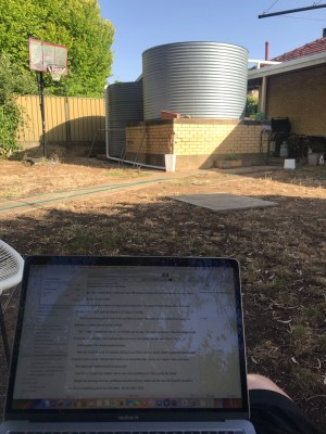 Sitting outside to write 30 minutes a day