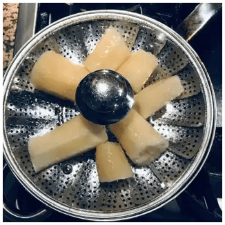 steaming yucca for crispy yucca