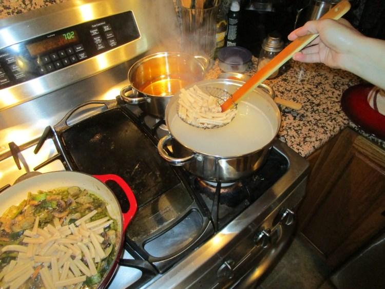 add pasta to mushroom asparagus zucchini