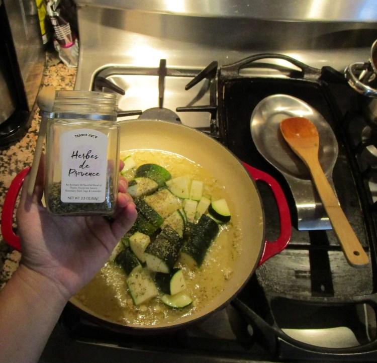 mushroom asparagus zucchini season with herb d provence