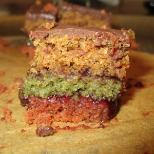 close up rainbow cookie