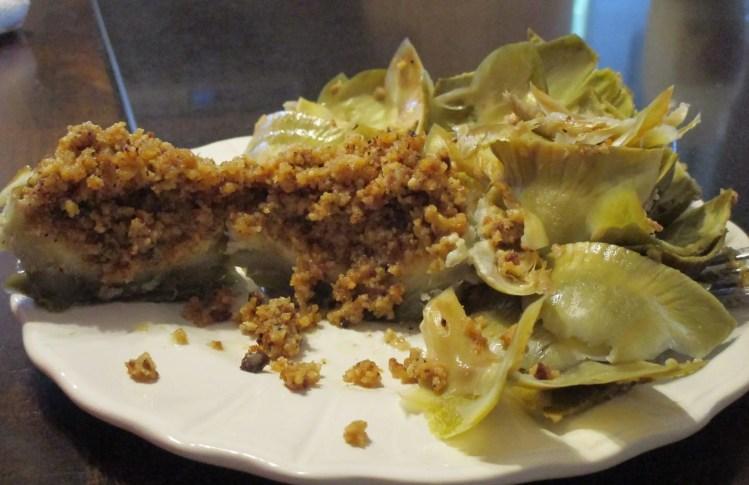 eaten artichoke cut to show inside