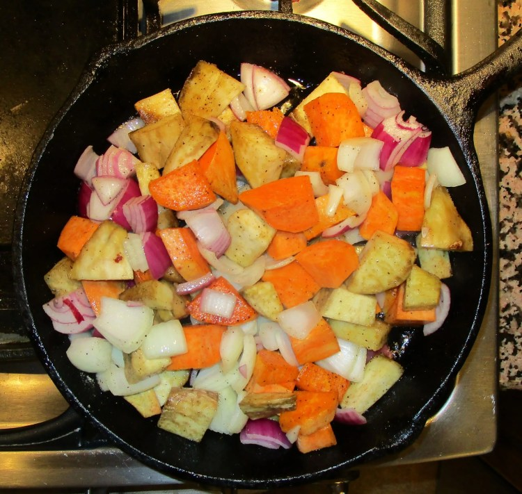 mix onions in well to batata and sweet potato