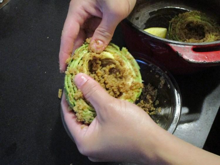 peel layers apart for stuffing artichoke