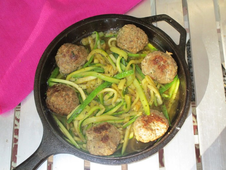 finished meatballs with zucchini noodles