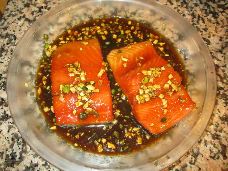 ginger salmon after marinade before cooking
