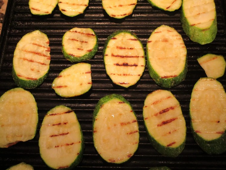 grill marks on zucchini for basil oil