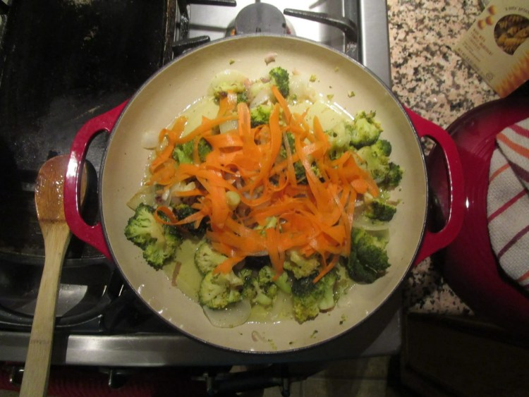 carrot ribbons on broccoli for chickpea pasta