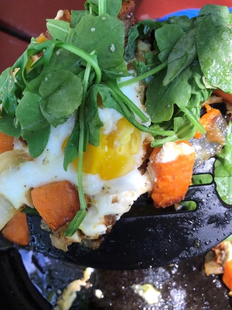 close up egg hash