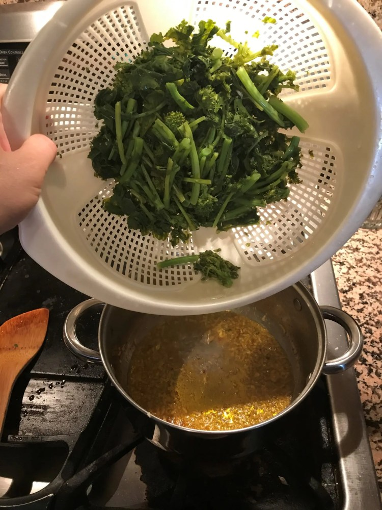 add blanched broccoli rabe to sambal oil