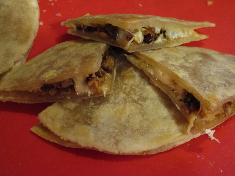 cut up inside quesadilla