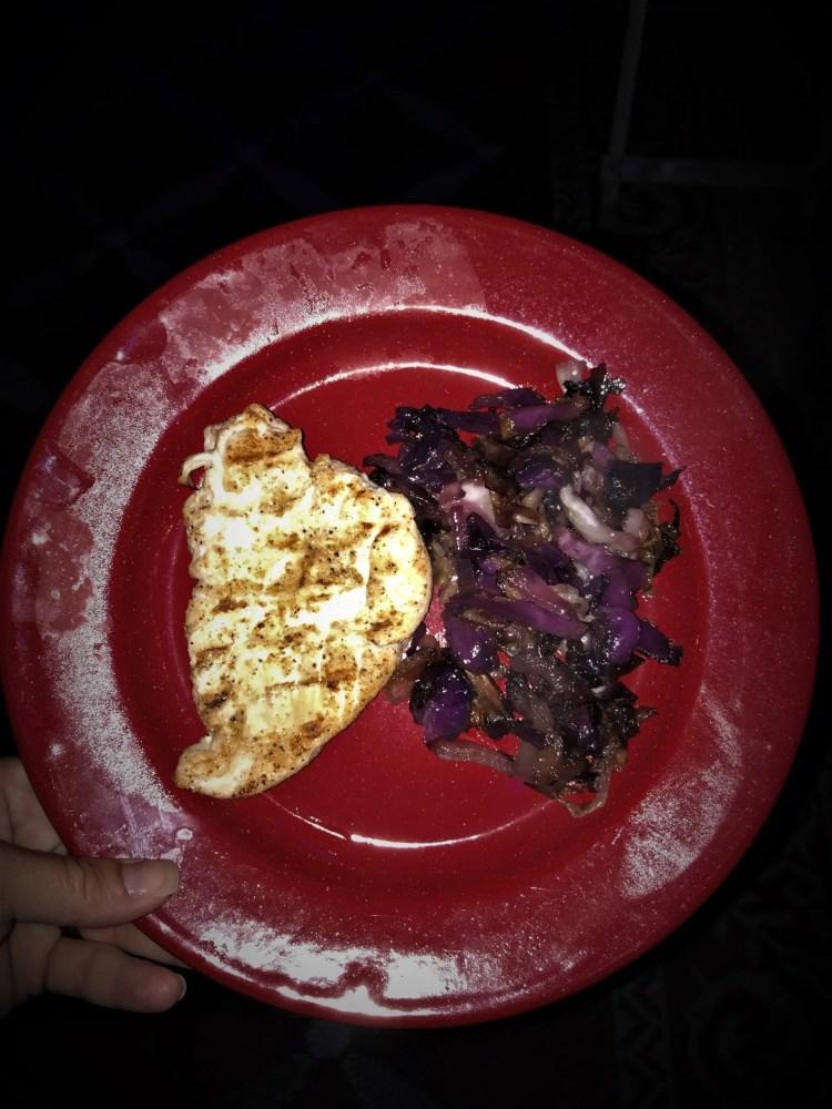 purple cabbage side to grilled chicken