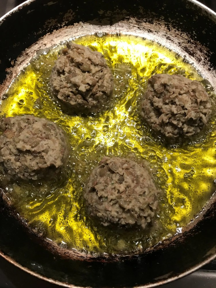 frying lentil meatballs