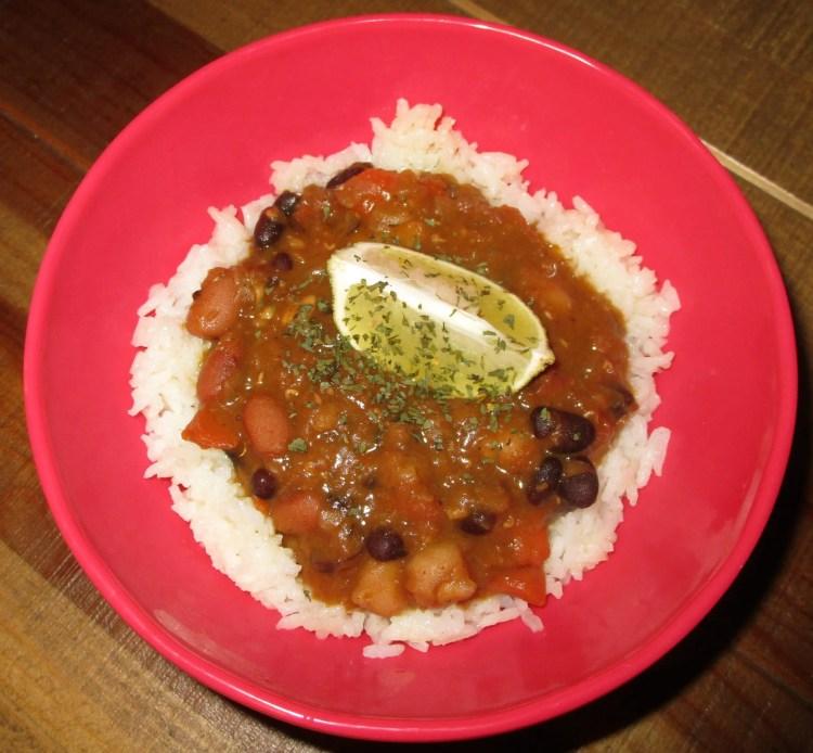 vegan chili over rice