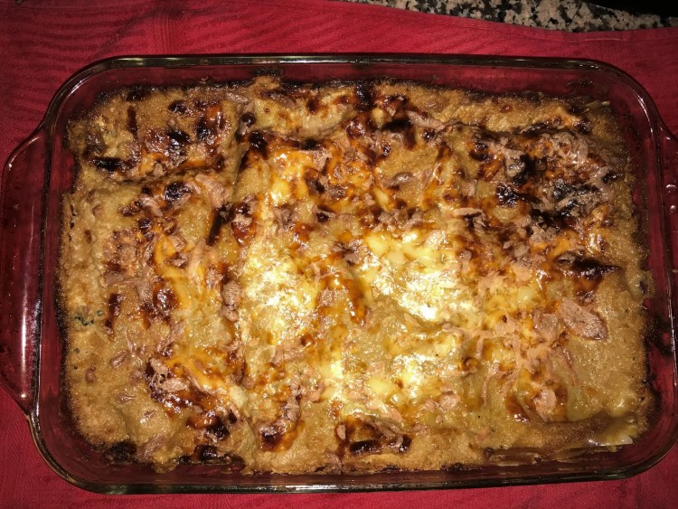 white lasagna out of oven