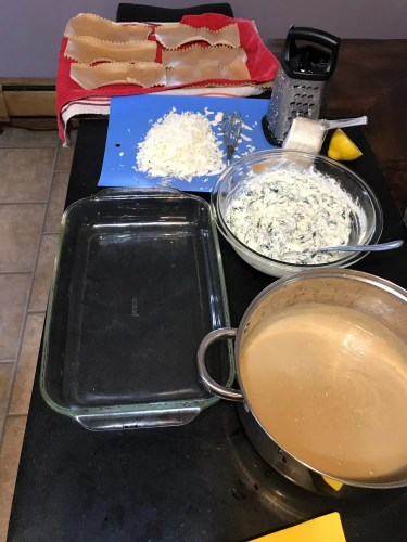 white lasagna assembly line