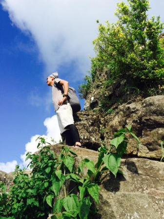 Me before reaching the summit. This is the Bato you need to Lusong before you reach the top.