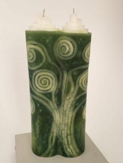 handwerklich gefertigte Doppel Hochzeitskerze Familienbaum grün vegan