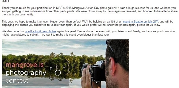 mangrove action project confirmation