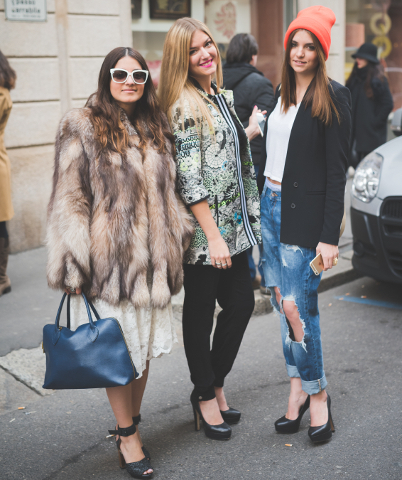 People during Milan Fashion week, Italy on February, 27 2015