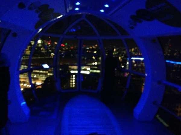 Inside the capsule on the London Eye