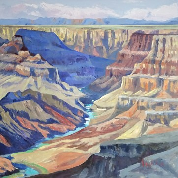 Grand Canyon Blues, 100x100cm, oil on canvas, ©2017 Angie Brooksby-Arcangioli