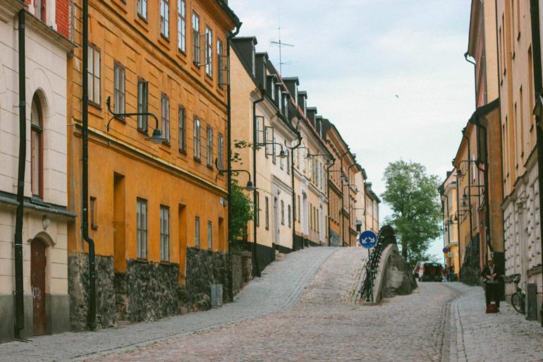 Les ruelles de Stockholm pour arriver au Monteliusvagen