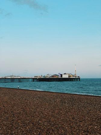 Vue sur le Palace Pier depuis la plage de Brighton