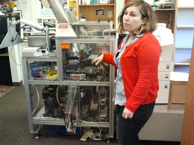 Anna Micklin, Self Publishing Coordinator UW-Seattle Bookstore Introduces Homer the Book Espresso Machine