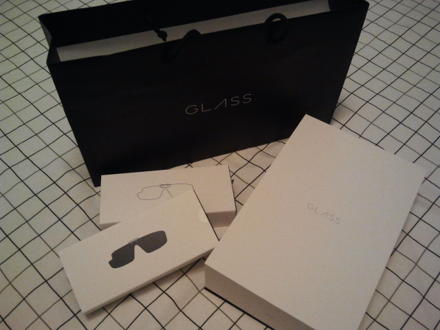 Google gift bag and three boxes