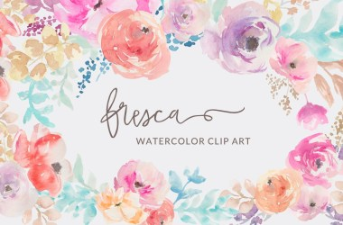 watercolor flowers clip flower floral clipart fresca collection border bouquet angiemakes pretty cliparts bunches wedding painted graphics vector invitation イラスト