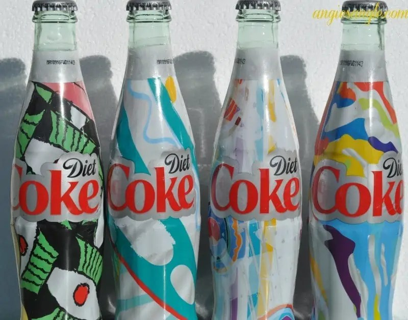 How To Do Colorful Eyes That Pop Inspired by Diet Coke Bottles - In a Row with white