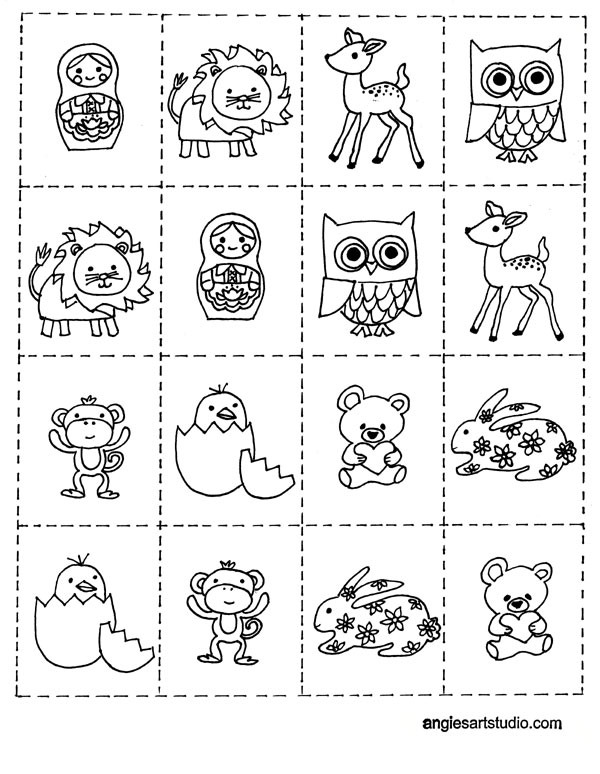 Free Coloring Page and Memory Game for Kids — Angie's Art