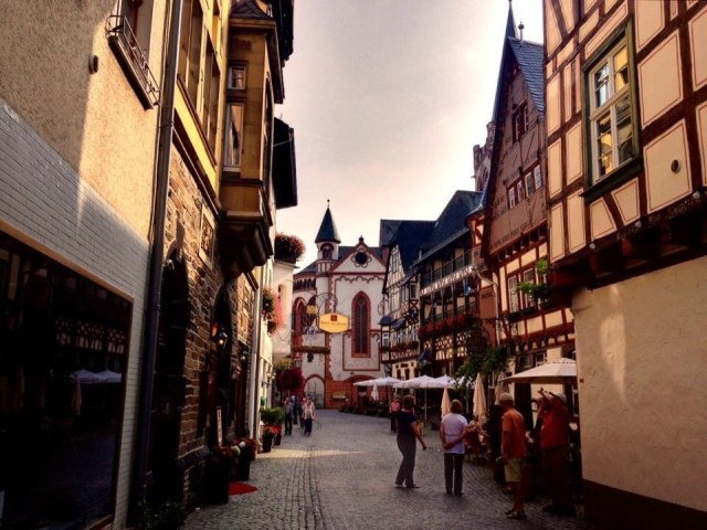 Cobblestone streets, Bacherach am Rhein, Rhine