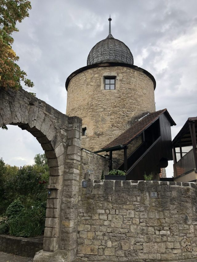Old medieval border wall with watch tower, Sommerhausen
