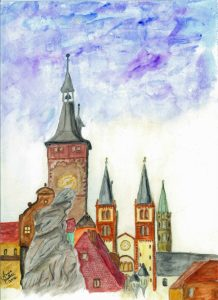 Alte Mainbruecke, Dom, Wuerzburg painting